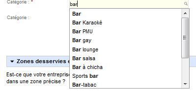"""Exemple de catégorie """"bar"""" pour un listing Google Adresse"""