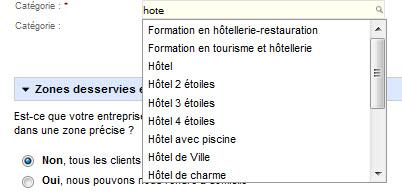 Exemple catégorie dans listing Google adresse