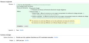 Diffusion de campagne Google Adwords: réseau Search et réseau Display