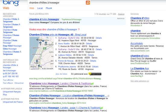 Recherche chambre d'hotes à Hossegor sur Bing