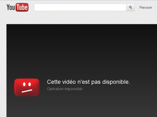 Campagne Youtube Video non disponible